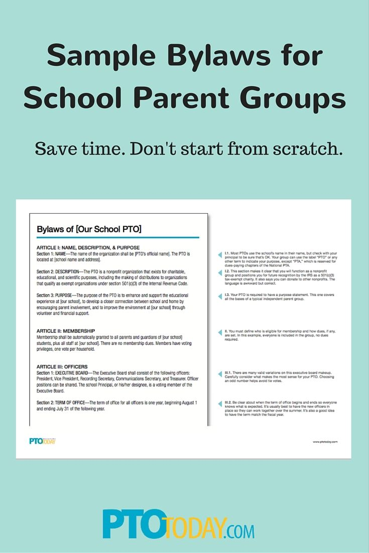 Use our annotated sample bylaws to update or create new for Pta bylaws template