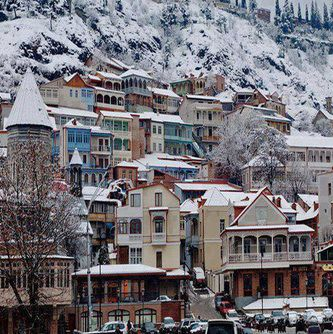 Tbilisi, Georgia covered in snow