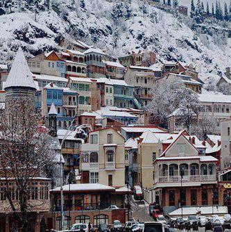 Tbilisi, Georgia covered in snow