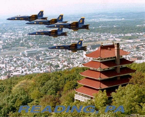 Blue angels flying over the Pagoda, Reading, Pennsylvania