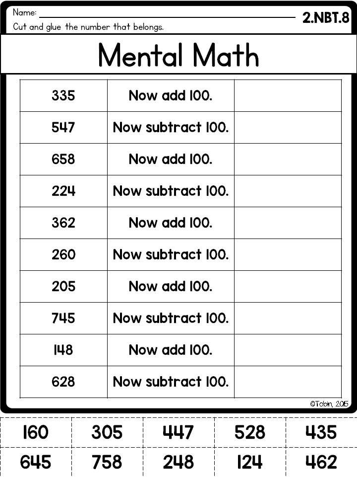 mental math, 100 more 100 less 2.nbt.8 worksheet                              …