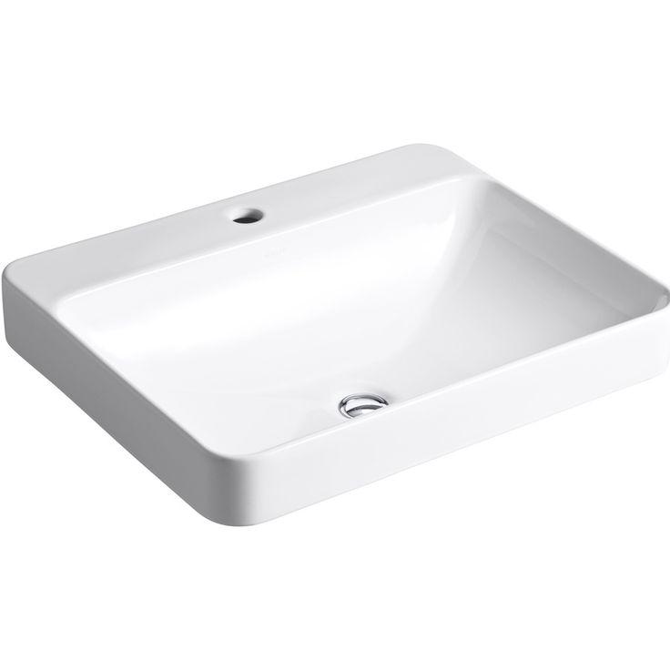 KOHLER Vox White Drop-in Rectangular Bathroom Sink with Overflow