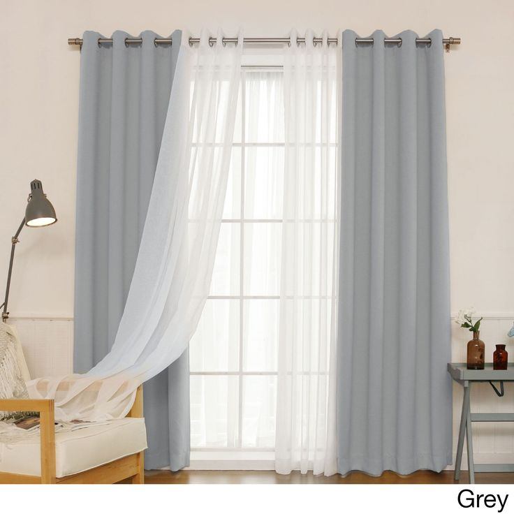 Aurora Home MIX & Match Curtains Blackout and Muji Sheer 84-inch Silver Grommet 4-piece Curtain Panel Pair (