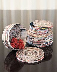 "Recycled ""magazine"" baskets.   http://www.flickr.com/photos/stefanie1/sets/1577206/"
