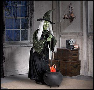 halloween decor tall life size animated halloween witch with flaming cauldron - Halloween Witch Decoration
