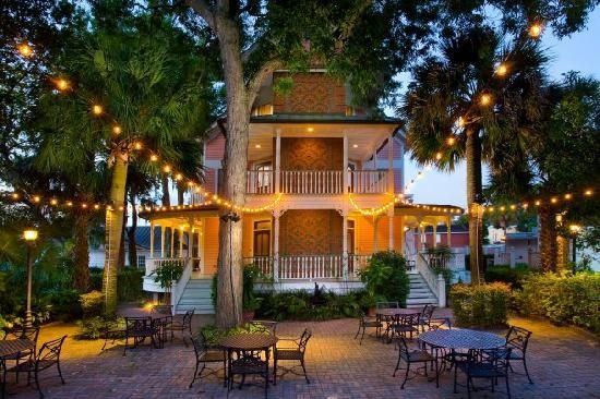 Beautiful Beaufort Inn, that fireplace and porch and garden area...I can't even.