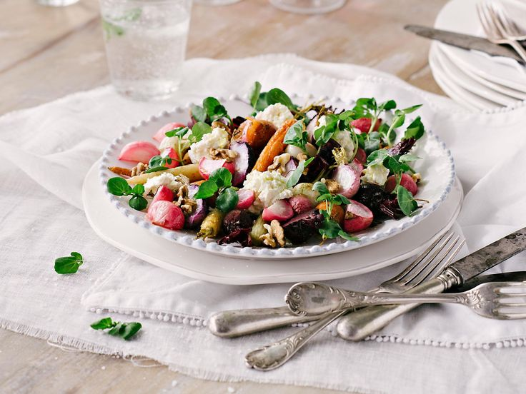 This salad combines creamy goat's cheese and mascarpone with balsamic-roasted beets, roasted radishes and baby carrots. The roasted radishes transform from spicy little beasts to sublime mellow mouthfuls. Photography by Jani Shepherd/Gatherum Collectif.