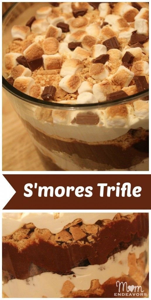 Brownie S'mores Trifle. Brownie pieces  chocolate pudding  gram cracker pieces  whipped cream  marshmallow fluff and marshmallows..