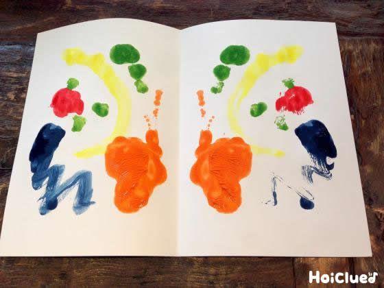 デカルコマニーとは、絵の具を塗りつけた紙を半分に折り、塗りつけた絵の具を転写させる方法のこと。絵の具が潰れて、混ざったりする様子も楽しい♪思いもよらない模様や絵ができあがるので、最後までドキドキのおもしろお絵描き遊び。