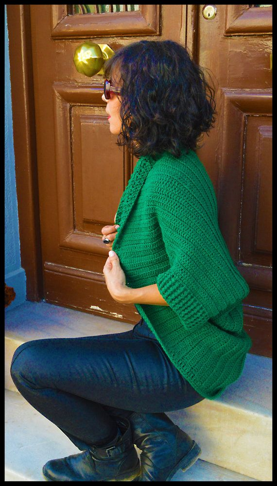 Oversized Chunky Sweater Cardigan . Cozy Green by InoriCreations