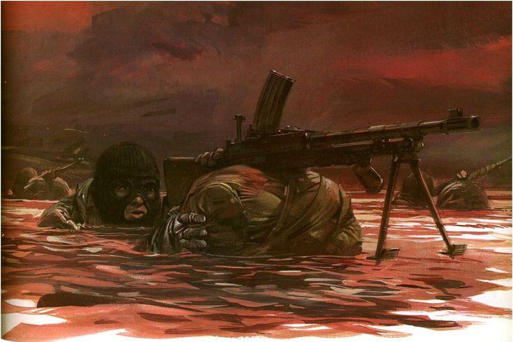 Malvinas. Aproximacion a la costa de hombres del SBS amparandose en la oscuridad y con sus mochilas usadas como flotadores
