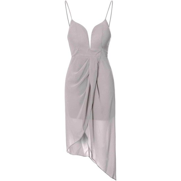 Light Grey Asymmetric Plunge Dress (2,150 PHP) ❤ liked on Polyvore featuring dresses, grey, evening dresses, holiday dresses, asymmetrical cocktail dress, grey dress and gray chiffon dress