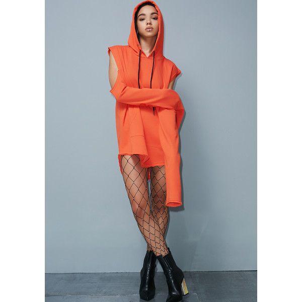 Poster Grl Orange Street Smarts Sweatshirt Dress ($24) ❤ liked on Polyvore featuring dresses, orange, cut-out shoulder dresses, blue cold shoulder dress, orange dress, embroidered dress and embroidery dress