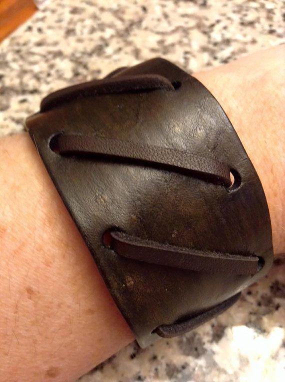 Men's Leather Cuff by lorisleatherandmetal on Etsy                                                                                                                                                      More