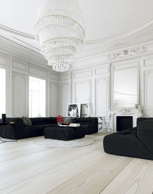 living room By Marvelous Designer - interior design, home decor, rooms, living rooms, black and white, furniture, couches, sofas, lighting, chandeliers