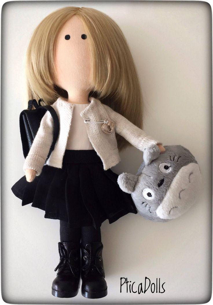 Handmade fabric teen doll by PticaDolls https://www.etsy.com/listing/545498518/blonde-girl-ooak-art-cloth-doll-gift-for