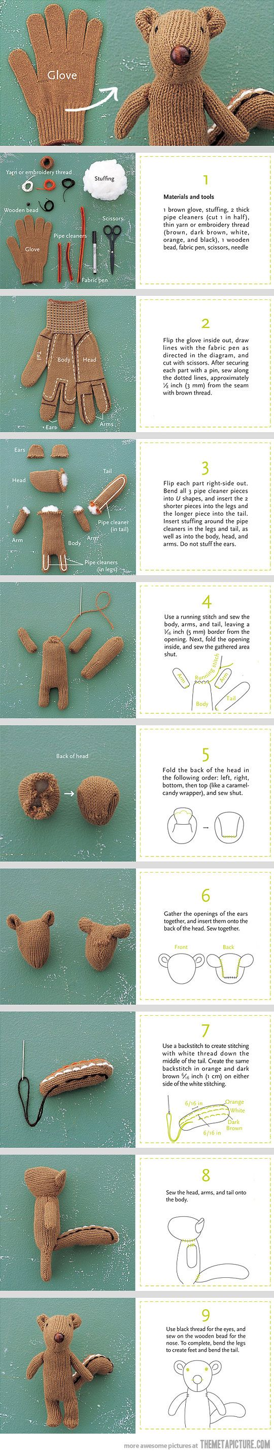 How to Turn a Glove into a Chipmunk: Ideas, Projects, Squirrels, Diy Crafts, Socks Monkey, Teddy Bears, Cute Crafts, Chipmunks, Gloves