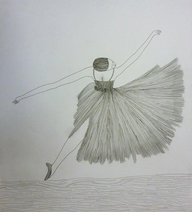 bailarina para ilustrar lineas en distintas direcciones, realizado con grafito y plumilla 0,5