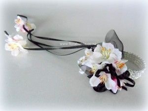 Pink blossom with Black ribbon on silver diamante bracelet image