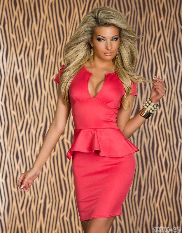 Высокое качество плюс размер М L ХL ХХL женщины Леди мода Sexy U-образным вырезом ol Пеплум-платья, платья в обтяжку черный синий розовый Белый 8945
