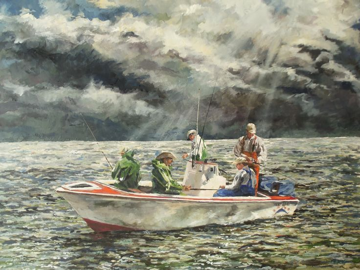 Father and four Sons. Oil on Canvas # Marine Painting