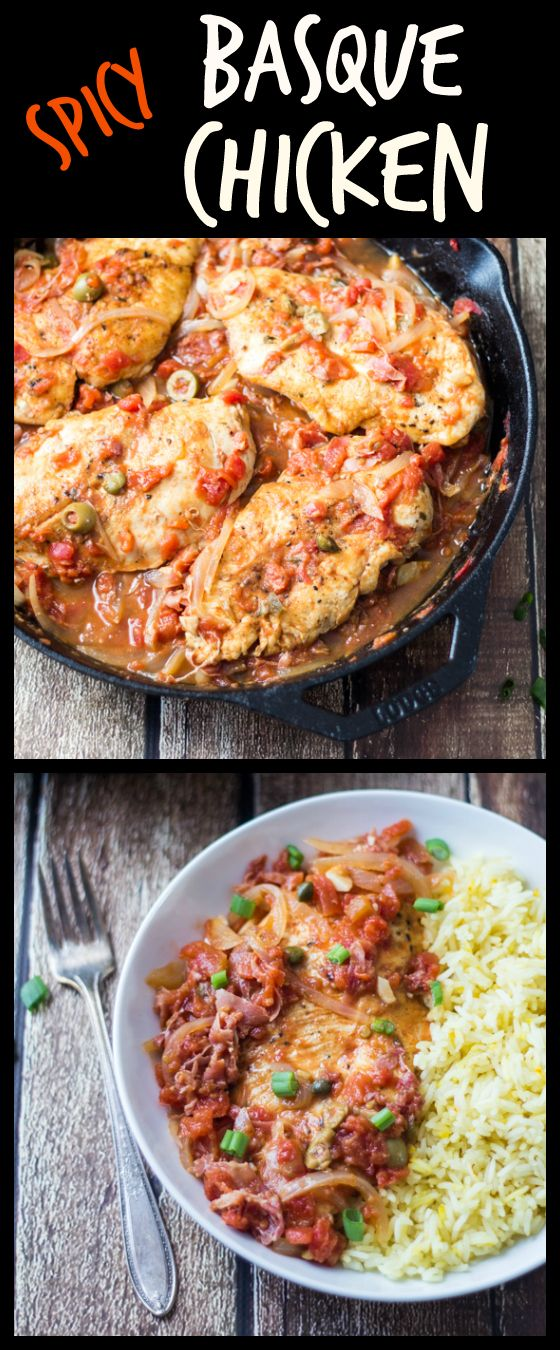 Smoked paprika, chilies, and green olives give this Spicy Basque Chicken a bright color and well-rounded flavor. Pair with saffron rice for an easy 30-minute dinner!