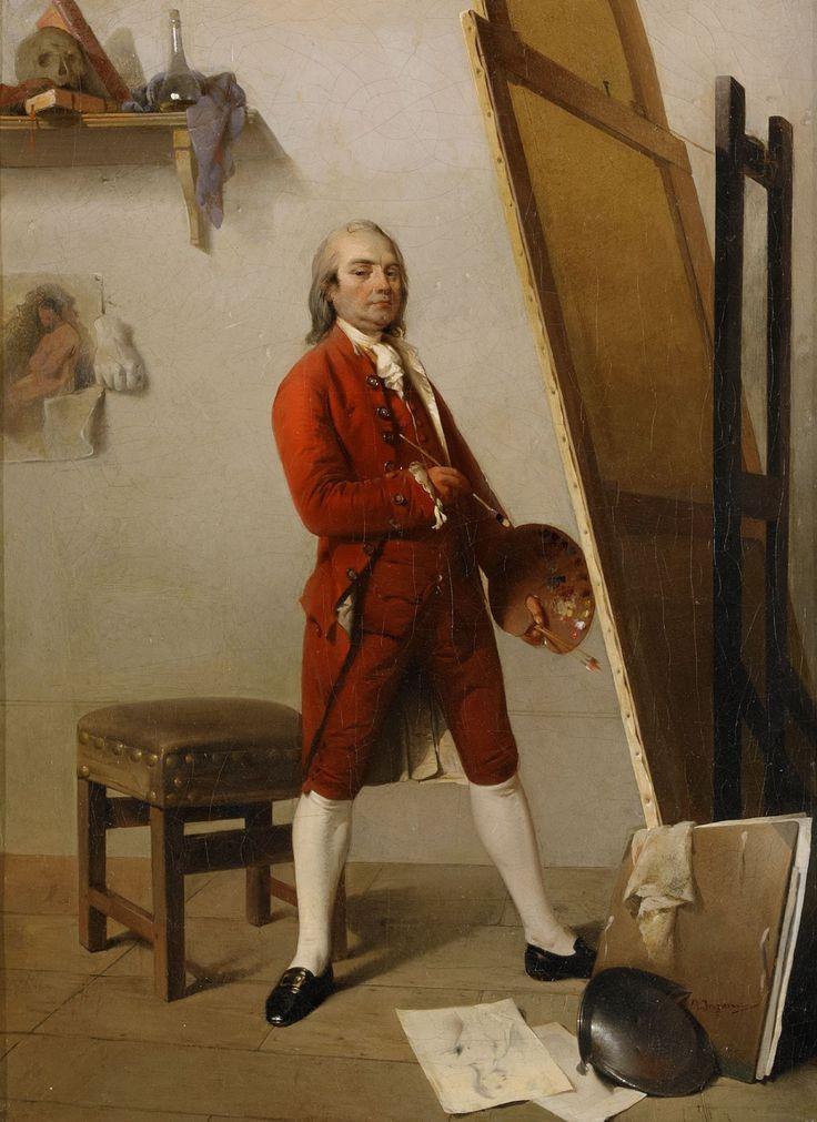 Self portrait in studio, Angelo Inganni