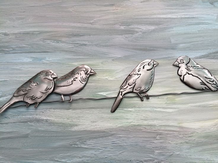 Pewter embossed ' Birds on a wire' made by Lee @ The Pewter Room