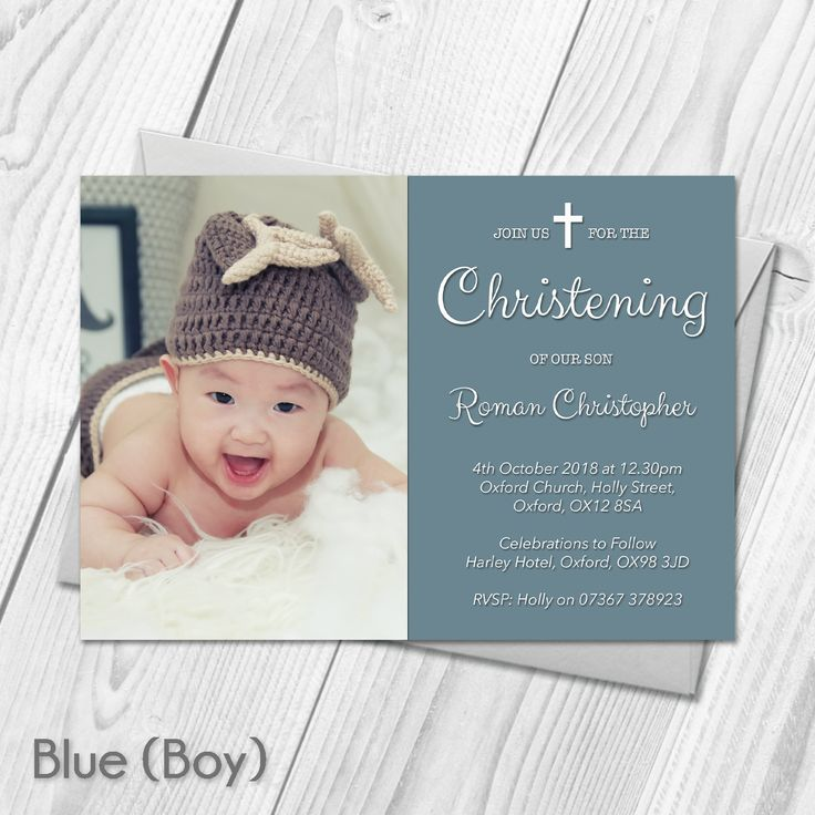 free online christening invitation making%0A Personalised Christening Baptism Invitations with Photo   Boy Girl  u      Envelopes Custom Made With Your Own