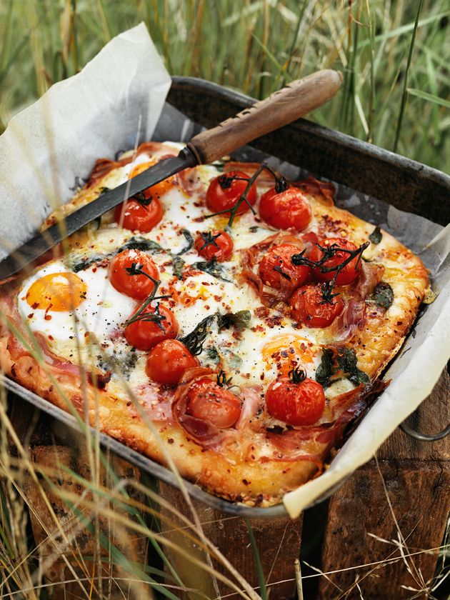 Fresh tomatoes, Eggs-Sunny-Side-Up, prosciutto, cheese, herbs and the great out doors