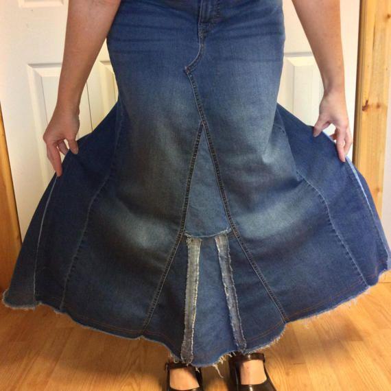 Denim largo Maxi Falda/azul Jean falda-vestido de noche