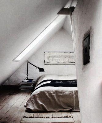 White/Black/Neutral Bedroom: Grey Bedrooms, Rustic Bedrooms, Attic Bedrooms, Loft Bedrooms, Attic Spaces, Bedrooms Design, Attic Rooms, Small Spaces, Bedrooms Decor