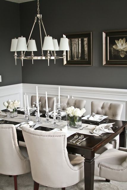 Elegant dining room- I love the contrast between the dark walls and light chairs https://emfurn.com/