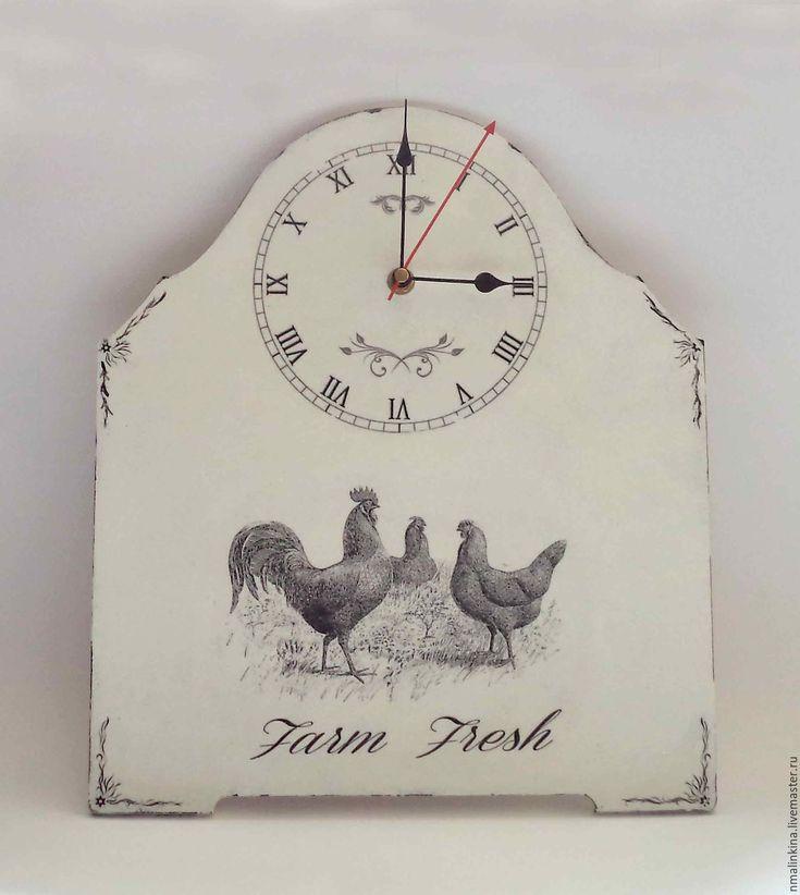 Купить Винтаж - белый, френч-винтаж, винтаж, часы, для интерьера, черно-белое, часы настенные