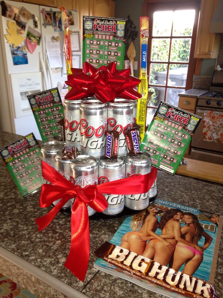 For a guy! Beer Birthday cake gift, with lottery tickets