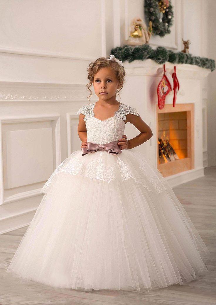 Aliexpress.com: Comprar Vestidos de Comunion Ninas 2017 Debajo de 60 $ de Encaje Vestidos de Niña de Navidad Blanco Vestido de Primera Comunión Del Desfile del Cabrito vestido de vestido ajustado fiable proveedores en party  Queen Fashion Store