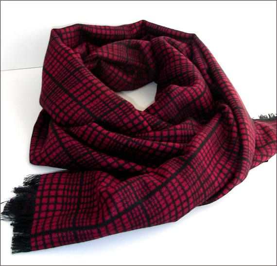 Red/Black Cashmere man scarf/wrap Écharpe Homme Luxe