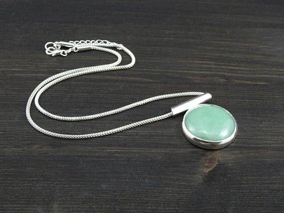 Modern artisan green moss agate pendant