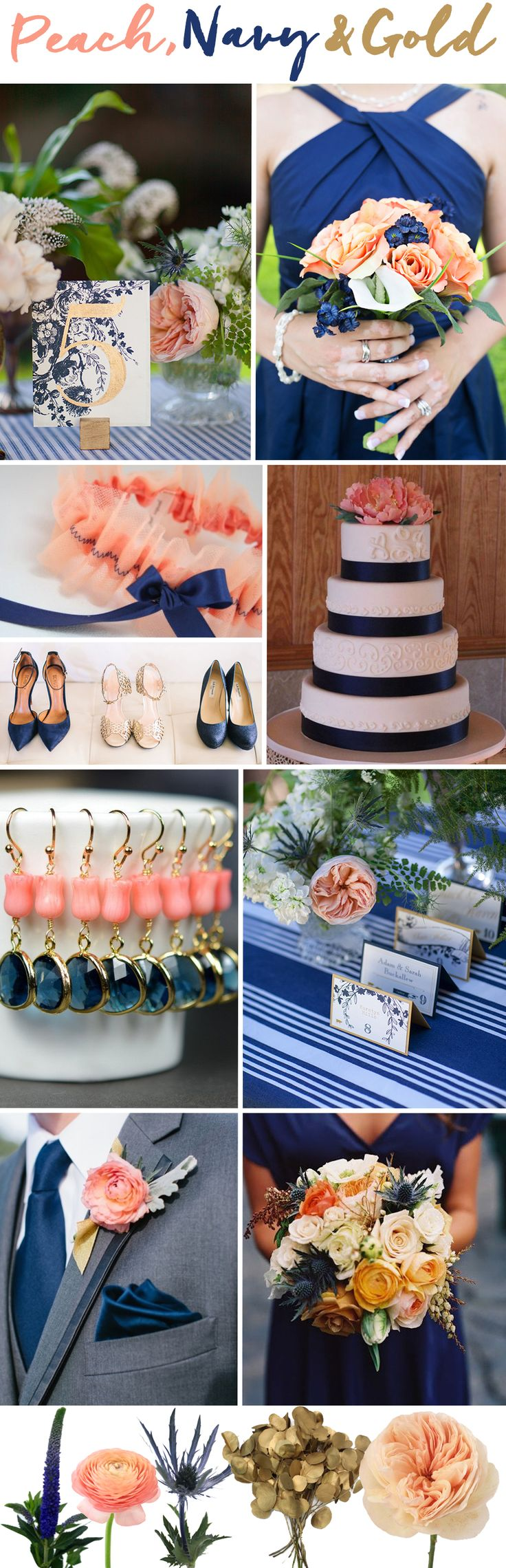 When it comes to color palettes, opting for a pastel color paired with a dark color and adding in some metallics is a safe bet for success. One such winning combination is peach and navy with pops of gold.