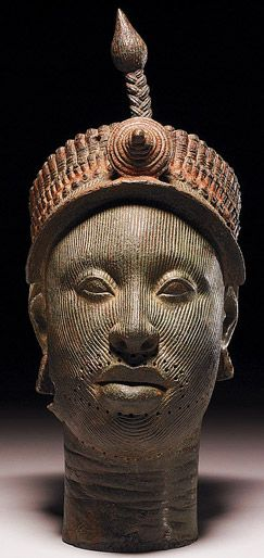 Head Bronze, circa 12th century, Kingdom of Ife, (an ancient Yoruba city) south-western Nigeria, Africa