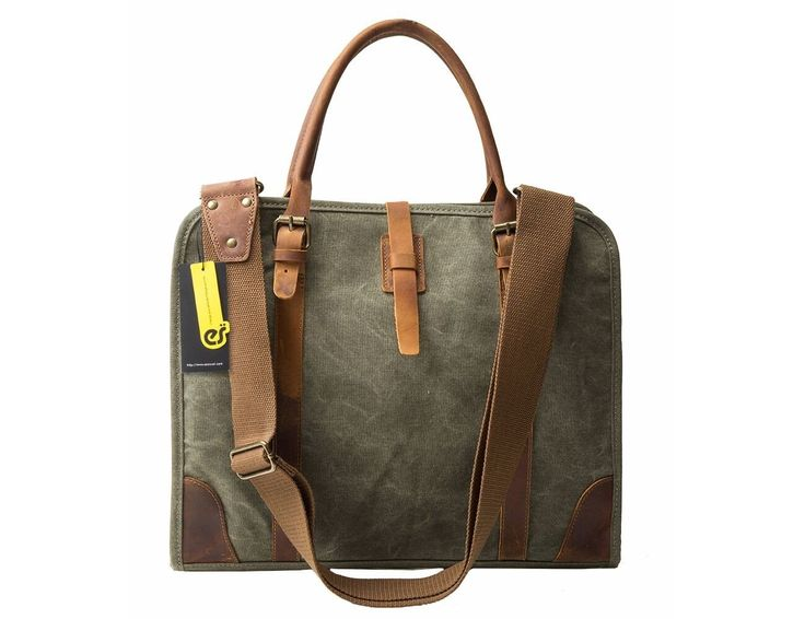 Grey Canvas & Leather messenger bag for business men and women