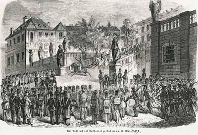 Ausbruch des Aufstands in Rastatt, 1849: Eine Meuterei badischer Soldaten griff am 14. Mai auf Karlsruhe über. Großherzog Leopold flüchtete. Durch das Eingreifen der Reichsarmee unter Führung Preußens brach der Widerstand am 23. Juli endgültig zusammen. Baden blieb bis 1852 unter preußischer Besatzung. (GLAK J-G-R/6)