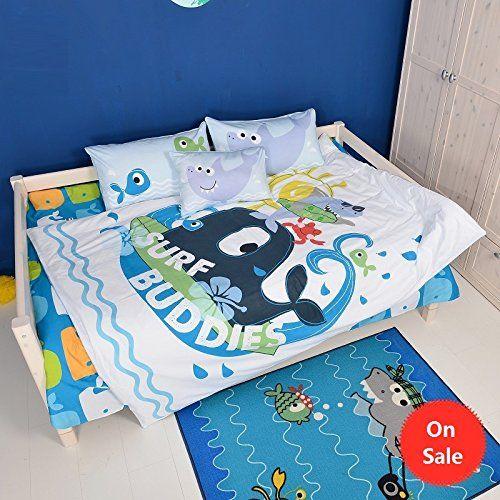 Brandream Kids Bedding Set Blue Boys Bedding Ocean Bedding Set Cartoon Duvet Covers Full Size *** Learn more by visiting the image link.