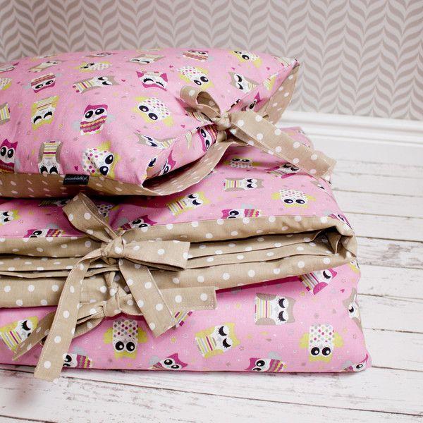 Pościel dla dziewczynki - sówki na różu z beżem. w Urocze Dodatki na DaWanda.com