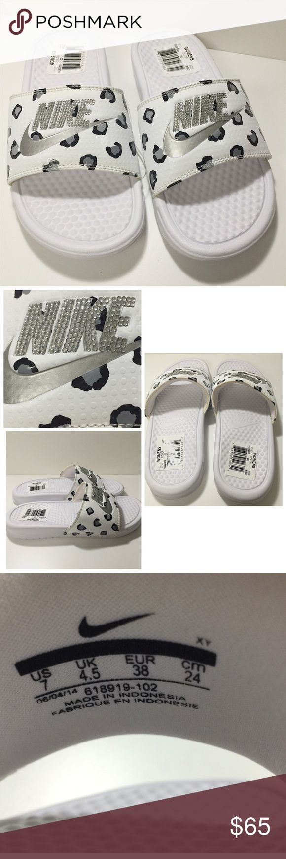 Blinged out custom Nike slides Blinged out custom Nike women's slides. White with black and silver cheetah print. Silver crystals, silver swoosh with no crystals. Never been worn, nwt. Size 7. No missing jewels! Nike Shoes Sandals