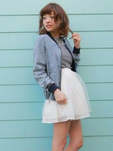 会話いい定番のチュールスカートはデニムのブルゾンに合わせて大人可愛く♡ブルゾンのトレンド♡人気・おすすめのレディース一覧♡