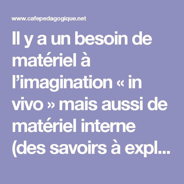 Il y a un besoin de matériel à l'imagination « in vivo » mais aussi de matériel interne (des savoirs à explorer).