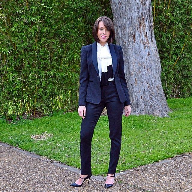 Black women's tuxedo suit; fringe pussy bow tie; christian loubutin heels; blogger