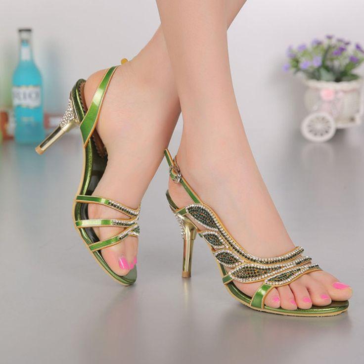 Damen 8 cm Ferse Blau Strass Sandalen Hochzeit Schuhe Stiletto Party Kleid Schuhe Schaffell Sommer Sandalen Plus größe 34-44 //Price: $US $71.15 & FREE Shipping //     #dazzup