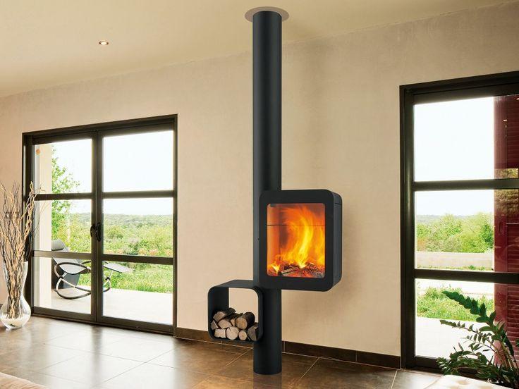 Stufa a legna in acciaio GRAPPUS Collezione Grappus by Focus design Thibault Desombre